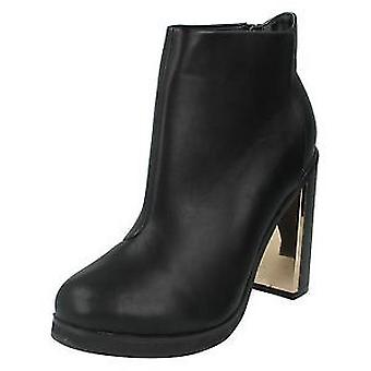 Ladies Spot On High Heel Ankle Boots F50428