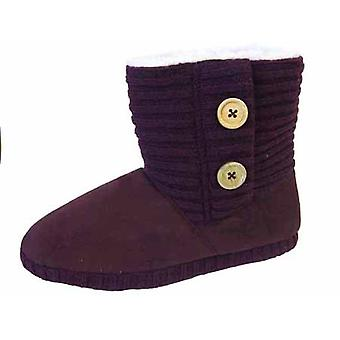 Ladies Coolers Wool Knitted Collar Warm Snugg Boot slipper W108