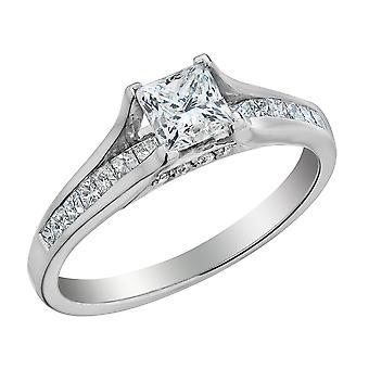 Princess Cut Diamond Engagement Ring 1.0 Carat (ctw) in 14K White Gold