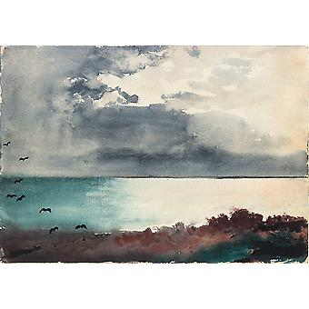 Winslow Homer - Breaking Storm Coast of Maine Poster Print Giclee