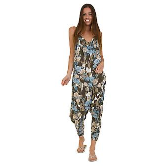 Jersey Jumpsuit - Floral Blue Drop Crotch Lightweight Stretch Relaxed Fit Playsu