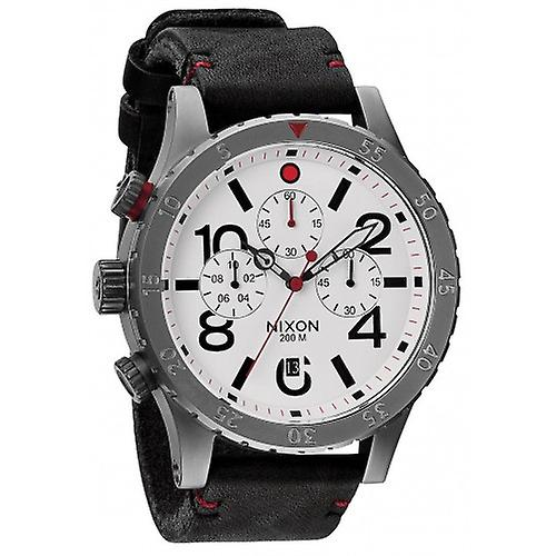 Nixon The 48-20 Chrono Leather Watch - Gunmetal/White