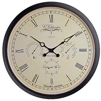 Nextime Wall Clock 45 Ø Metal Glass Black Wehlington Weather Station