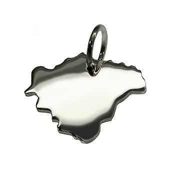 Trailer map FRANCS in solid 925 Silver Pendant