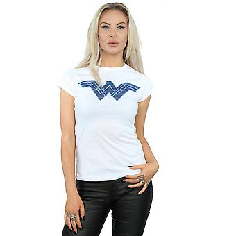 DC Comics Women's Wonder Woman Pattern Fill Logo T-Shirt