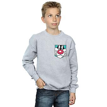 Looney Tunes Boys Sylvester Face Faux Pocket Sweatshirt