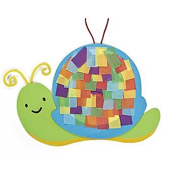 12 Colourful Snail Tissue Paper Craft Kits - Kids Mess Free Crafts