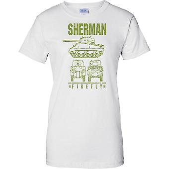 Sherman Firefly - British WW2 Battle Tank - Ladies T Shirt