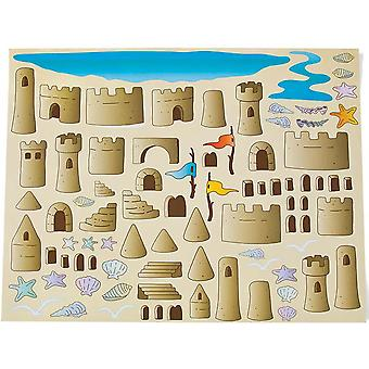 12 Design Your Own Sandcastle Sticker Scenes for Kids | Childrens Craft Stickers