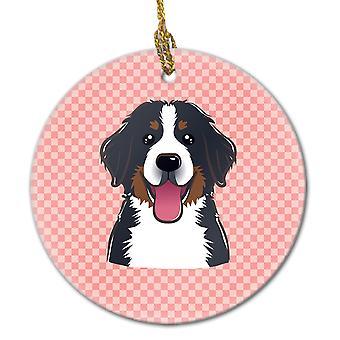 市松ピンク Bernese 山犬セラミック飾り