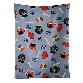 Dog House Collection Smooth Black and Tan Dachshund Kitchen Towel