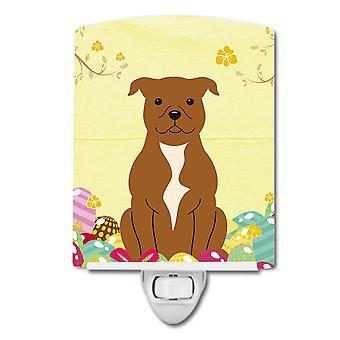 Oeufs de Pâques Staffordshire Bull Terrier marron en céramique veilleuse