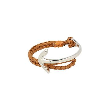 Baxter jewelry London jewellery half Bangle - half strap anchor silver leather bracelet Cognac Brown Maritim 19 cm