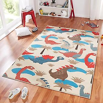 Design suede play mat for kids dinosaur blue red 140 x 200 cm