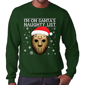 Christmas Friday 13th Jason Voorhees Naughty List Men's Sweatshirt