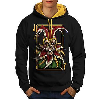 Joker Card Horror Skull Men Black (Gold Hood) Contrast Hoodie | Wellcoda
