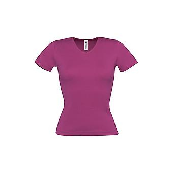 B&C Womens/Ladies Watch Plain Short Sleeve V Neck T-Shirt