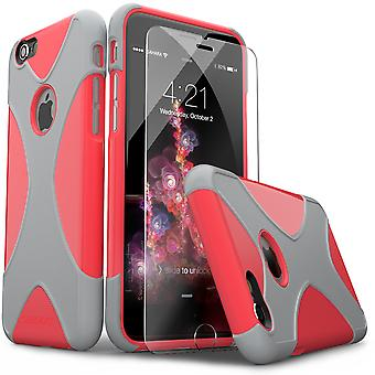 SaharaCase® iPhone 6/6s Pink Silver Case, X-Case Protective Kit Bundle with ZeroDamage® Tempered Glass