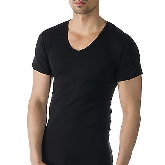 Mey 49107-123 Men's Casual Cotton Black Solid Colour Short Sleeve Top