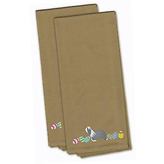 Bearded Collie Easter Tan Embroidered Kitchen Towel Set of 2