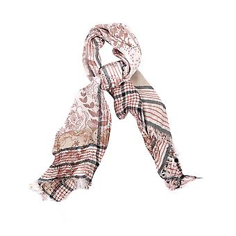Floral Cotton Blend Scarf – Brown