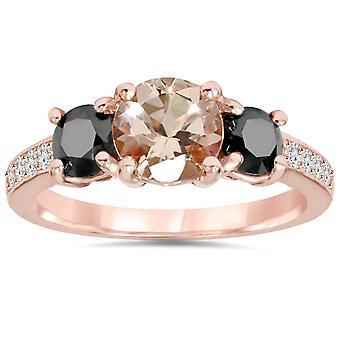 2.10Ct Morganite & Black Diamond Engagement 3-Stone Ring 14K Rose Gold