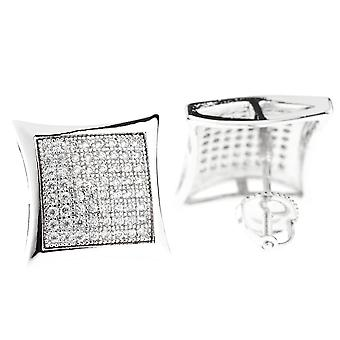 925 Silver MICRO PAVE earrings - DOME 14 mm