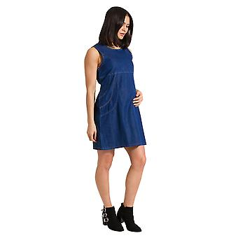 Sleeveless Denim Maternity Dress Adjustable Tie Back Pinafore