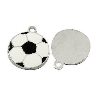 Packet 5 x White/Black Enamel & Alloy 18mm Football Charm/Pendant HA08225