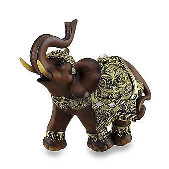 تبدو غريبة الخشب والذهب إنهاء الجذع حتى تمثال الفيل التايلاندي 6 بوصات طويل القامة