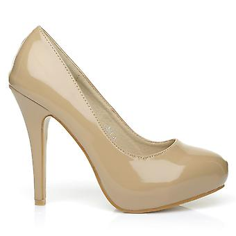 H251 Dark Nude Patent PU Leather Stiletto High Heel Concealed Platform Court Shoes