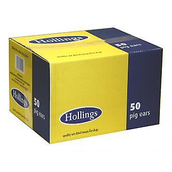 Hollings Schweine Ohren natürliche Leckereien Bulk Hundebox 50, britische Produkte