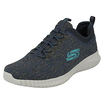 Mens Skechers Casual Memory Foam Trainers Hartnell 52642 - Navy/Blue Textile - UK Size 9.5 - EU Size 44 - US Size 10.5