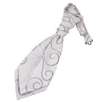 Zilveren Scroll vooraf gebonden bruiloft Cravat voor jongens
