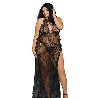 Womens Plus Size Sheer Eyelash Lace Toga Style Adjustable Long Gown Lingerie