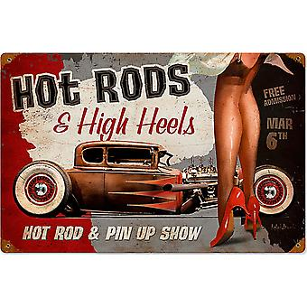Hot Rods & High Heels Rusted Metal Sign 450Mm X 300Mm 460Mm X 300Mm