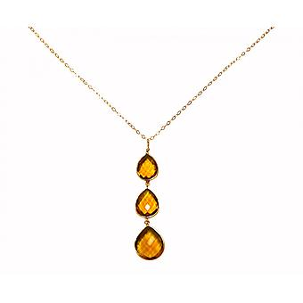 Gemshine Necklace Pendant 925 Silver Plated Citrine Quartz Yellow Gold CANDY