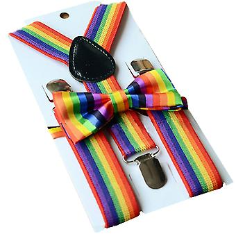 TRIXES 2PC Rainbow Bow Tie and Braces for Pride Events and Party Dress up