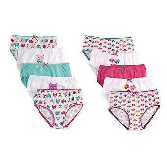 Girls Anucci Kids 100% Cotton Printed Briefs pants underwear 10 Pack