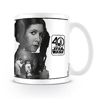 Star Wars 40th Anniversary Tasse Princess Leia weiß, bedruckt, aus Keramik, Fassungsvermögen ca. 315 ml..