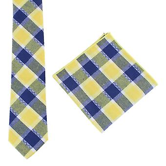 Knightsbridge Neckwear Check Tie and Pocket Square set - Yellow/Navy
