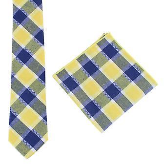 Knightsbridge dassen controleren stropdas en zak plein set - geel/Navy