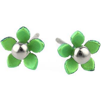 Ti2 Titanium 8mm fem kronblad polert perle blomst Stud øredobber - friske grønne