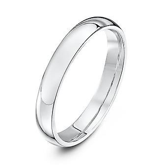 Star Wedding Rings 9ct White Gold Extra Heavy Court Shape 3mm Wedding Ring