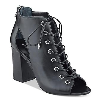Ivanka Trump Womens Rahela Leather Peep Toe Ankle Fashion Boots