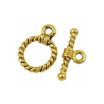 Packet 10 x Antique Gold Tibetan Round & Toggle Clasps 19 x 20mm HA11360