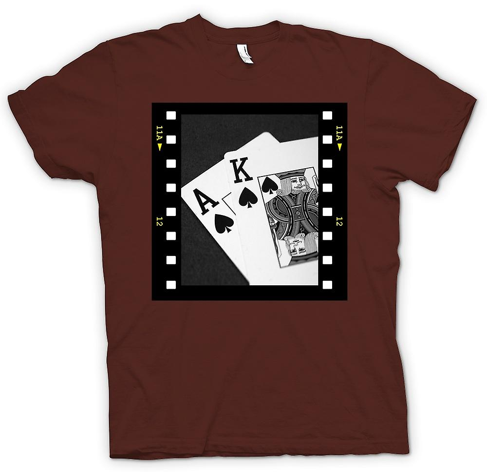 Heren T-shirt-Poker Hand Black Jack Ace koning