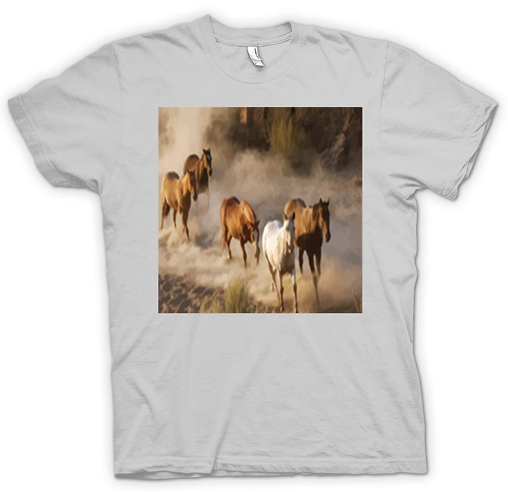Mens T-shirt - Stampeding Horses Prairie Design