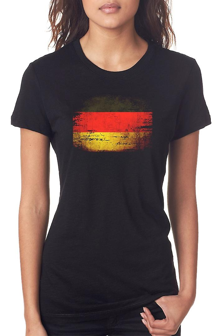 German Germany Grunge Flag Ladies T Shirt
