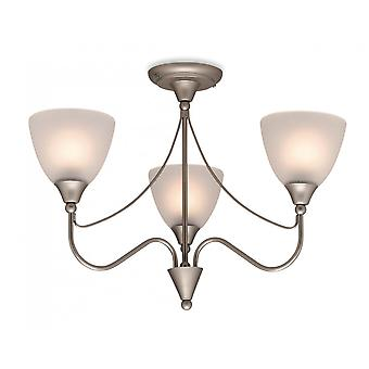 Firstlight Santana Ceiling Light In Satin Steel And Acid Etched Glass